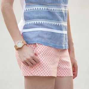 J Crew Pink Polka Dot Scallop Pocket Chino Shorts
